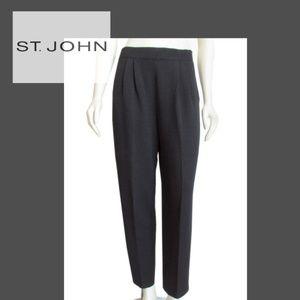 ST. JOHN BLACK SANTANA KNIT PLEATED FRONT PANTS